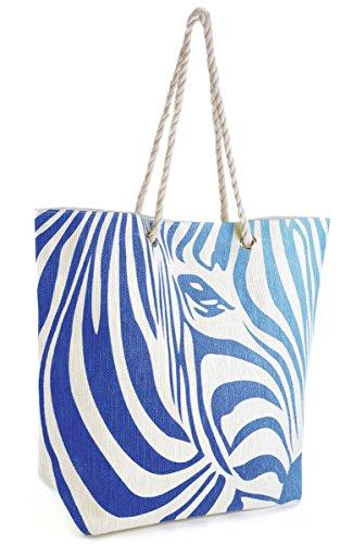 Design Shopping Bag Summer Large Swim Straw Zebra Navy Blue Pool Beach Tote Ombre Womens ATZgzqw