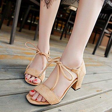 pwne Sandalias Mujer Primavera Verano Zapatos Club Gladiator Comodidad Suede Peep Toe Oficina &Amp; Carrera Parte &Amp; Traje De Noche Chunky Heel Lace-Up US5.5 / EU36 / UK3.5 / CN35