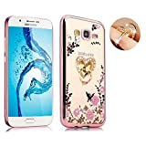 Samsung J7 Floral Crystal TPU Case-Auroralove Soft Slim Bling Plating Rubber Bumper Cover for Galaxy J7 with Rhinestone Diamond Element Detachable 360 Ring Stand for Girls Women(Rose Gold+Pink)