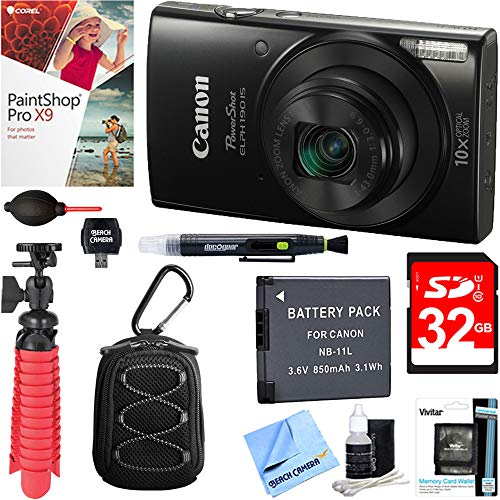 (Canon PowerShot ELPH 190 is Digital Camera with 10x Optical Zoom (Black) + 32GB Deluxe Accessory Bundle)