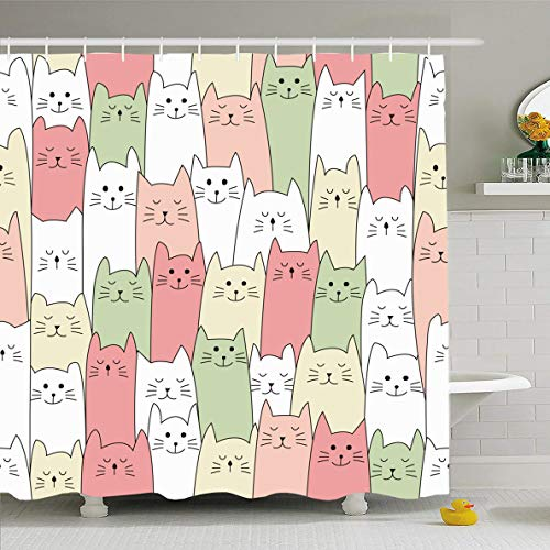 Ahawoso Shower Curtain 60x72 Inches Drawing Kitty Doodle Cat Pattern Wildlife Child Pastel Sketch Playful Abstract Design Waterproof Polyester Fabric Bathroom Curtains Set with Hooks