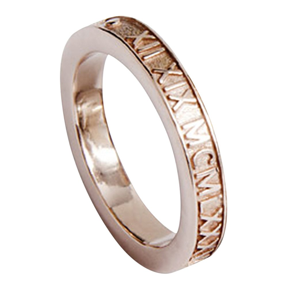 73f711054 Amazon.com: Solid 14k Gold Personalized Stackable 3mm Roman Numeral Ring:  Jewelry