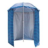 Sundale Outdoor 5.6 Feet Sand Anchor Beach Umbrella Market with Drape, Side Panel and Push Button Tilt, 8 Steel Ribs, Heavy Duty Canopy Waterproof, UV Resistance, Heat Insulating (Ocean Stripe) For Sale