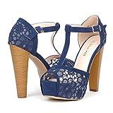 DREAM PAIRS LAURA-L Women's Lace Peep Toe High Heel T-Strap Enjoyable Platform Pumps Sandals Shoes,8.5 B(M) US,LAURA-L-NAVY
