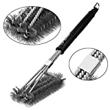 "BBQ Grill Brush by Go-Sports 18"" with 3 in 1 Stainless Steel Wire Bristles, Durable Handle and Strength Clip, 100% Rust Proof, Perfect Cleaner & Scraper for Grill Cooking Grates, Racks, & Burners"