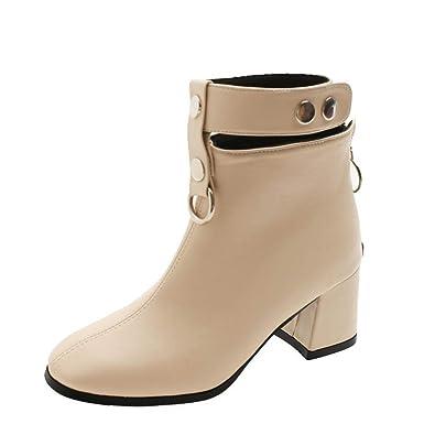 Bride Femmes Bottines Pour Talons Carrés Bottes Cheville Ankle Boots H2YeWIED9