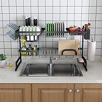 Image of Home and Kitchen Over Sink Dish Drying Rack, Space Saver Adjustable Drainer Shelf Kitchen Supplies Storage Shelf Countertop Organizer, Black Stainless Steel-2 tier