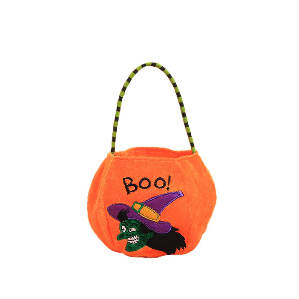 Halloween Bags with Handles Gift Candies Bags Amusing Fluffy Bags Tote Bags for Kids Festival Gift (A)