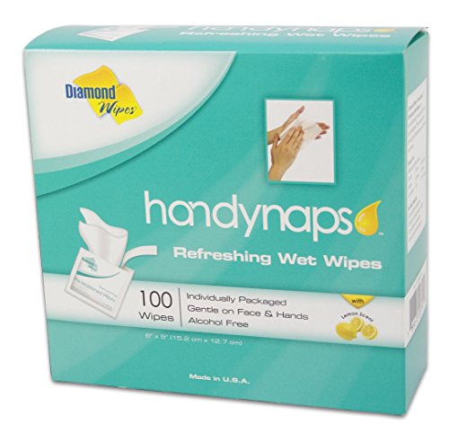 - Handynaps Pre-Moistened Refreshing Hand Cleaning Wet Wipes, Individually wrapped 100 Count Box