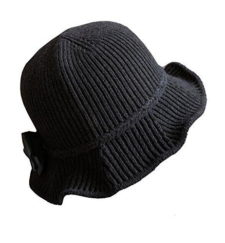 Urban CoCo Women's Wool Blend Foldable Hat Bow Trim Cloche Cap (Urban Hats)