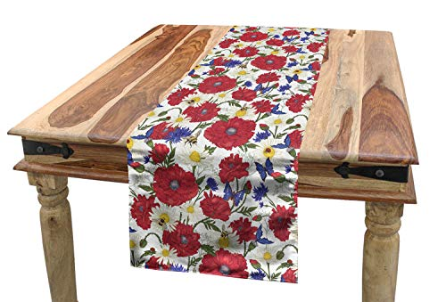 - Ambesonne Floral Table Runner, Blooming Red Poppies Chamomile Ladybird and Daisies Bumblebee Bees and Butterflies, Dining Room Kitchen Rectangular Runner, 16