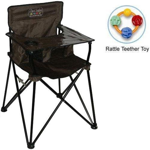 Ciao baby - Portable High Chair with Rattle Teether Toy - Chocolate