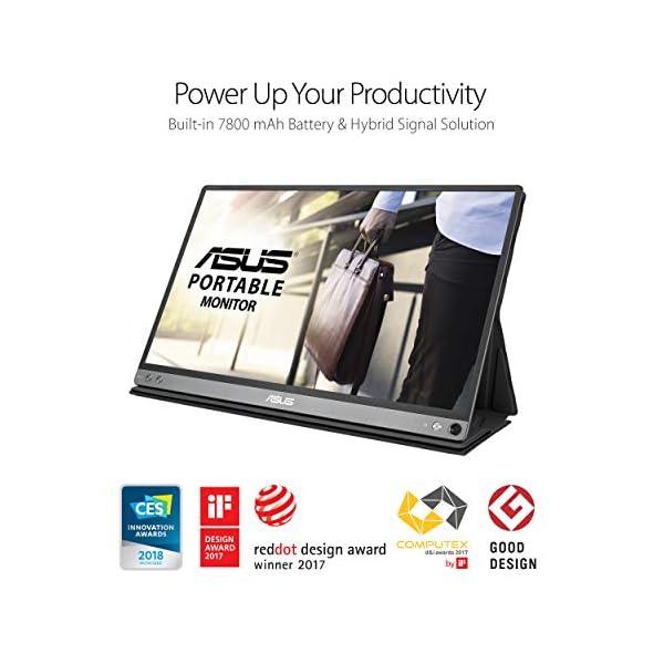 "Asus Zenscreen Go MB16AP 15.6"" Full HD Portable Monitor IPS Built-in Battery Eye Care USB Type-C W/Foldable Smart Case,Black 2"