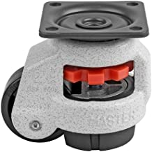 """FOOTMASTER GD-40F Nylon Wheel and NBR Pad Leveling Caster, 110 lbs, Top Plate 2 5/32"""" x 2 5/32"""",Bolt Holes 1 21/32"""" x 1 21/32"""", Ivory Finish"""