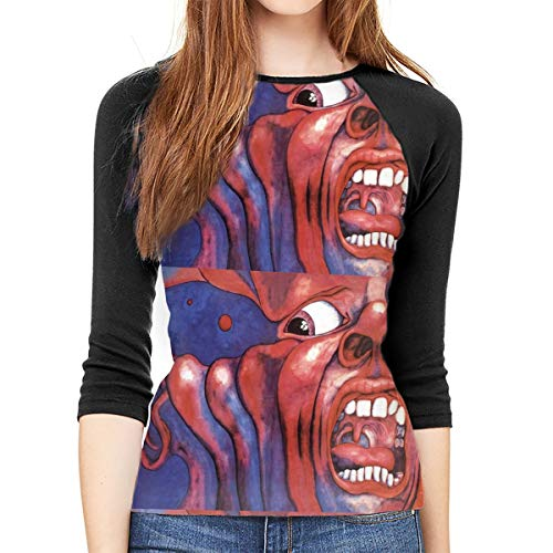 - King_Crimson_Music 3/4-Sleeve T-Shirt Womens Casua Raglan T-Shirt Loose Tunic Tops S-XXL