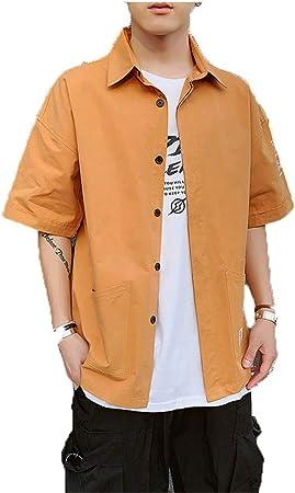 Camisas para hombre Regular Fit, Camisa casual de trabajo para hombre de media manga para hombre Botones juveniles delanteros Camisa lisa con bolsillos Camisa básica de algodón suelta de verano Street: Amazon.es: