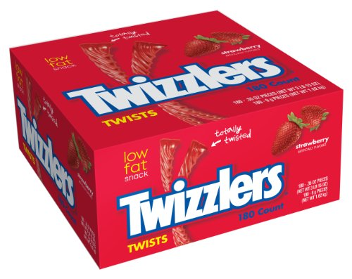 TWIZZLERS Licorice Candy, Strawberry, 180 Count (Pack of 2) -