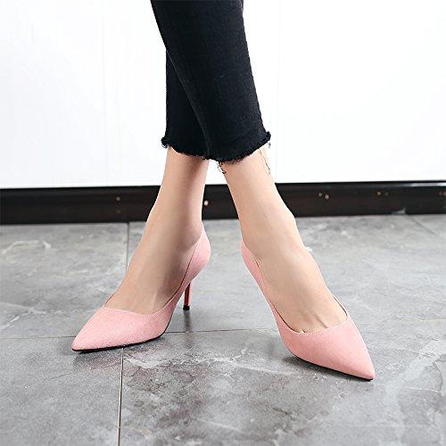 Jqdyl High Heels 2018 Fruuml;hling neue High Heels weibliche Spitze mit professionellen Schuhe wilde Schuhe mit Absauml;tzen  37|Pink 8cm