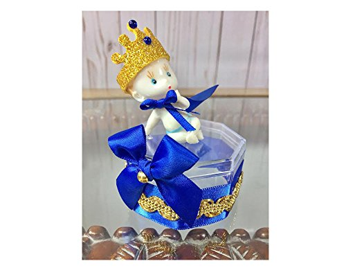 Party Supply 12 Royal Blue Prince Baby Shower Clear Box Favor Set (Deluxe) ()