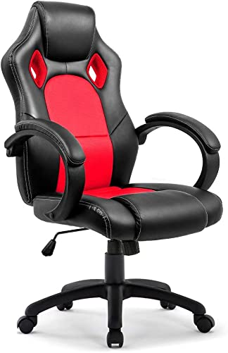 IntimaTe WM Heart Executive Racing Style Office Chair PU Leather Race High Back Swivel Seat Computer Desk Lumbar Support Chair
