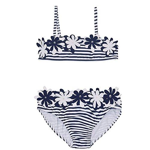 Kate Mack Baby Girls Navy White Stripe Floral Appliques 2 Pc Swimsuit - Kate Tankini Nylon Mack