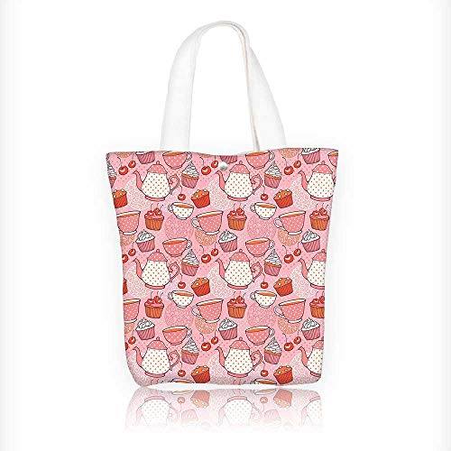 Cherry Cup Red Jumbo - Canvas Tote Handbag Teapots Cups with Polka Dots s Cherries Cakes Tea Coffee Pink Orange and Red Shoulder Bag Purses For Men And Women Shopping Tote W11xH11xD3 INCH