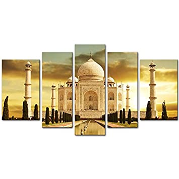 Canvas Print Wall Art Painting For Home Decor White Marble Taj Mahal Palace In Agra India
