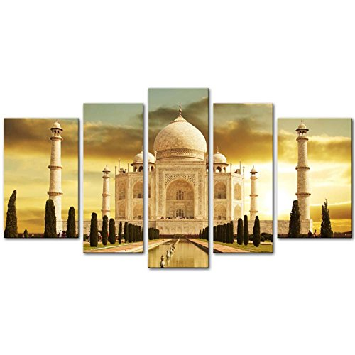Canvas Print Wall Art Painting For Home Decor White Marble Taj Mahal Palace In Agra India On Sunrise India Uttar Pradesh 5 Piece Panel Paintings Modern Giclee Stretched And Framed Artwork The Picture For Living Room Decoration Landscape Pictures Photo Prints On Canvas