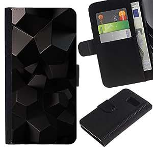 iBinBang / Flip Funda de Cuero Case Cover - Polígono patrón de Arte Negro Extranjero 3D de ciencia ficción - Samsung Galaxy S6 SM-G920