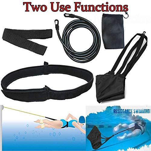 Swim Tether Stationary Swimming, 3.0 M Swimming Tether with Swim Parachute, Stationary Swim Trainer, Swim in Place, Stationary Swim Resistance Belt, Static Swimming Training Belts