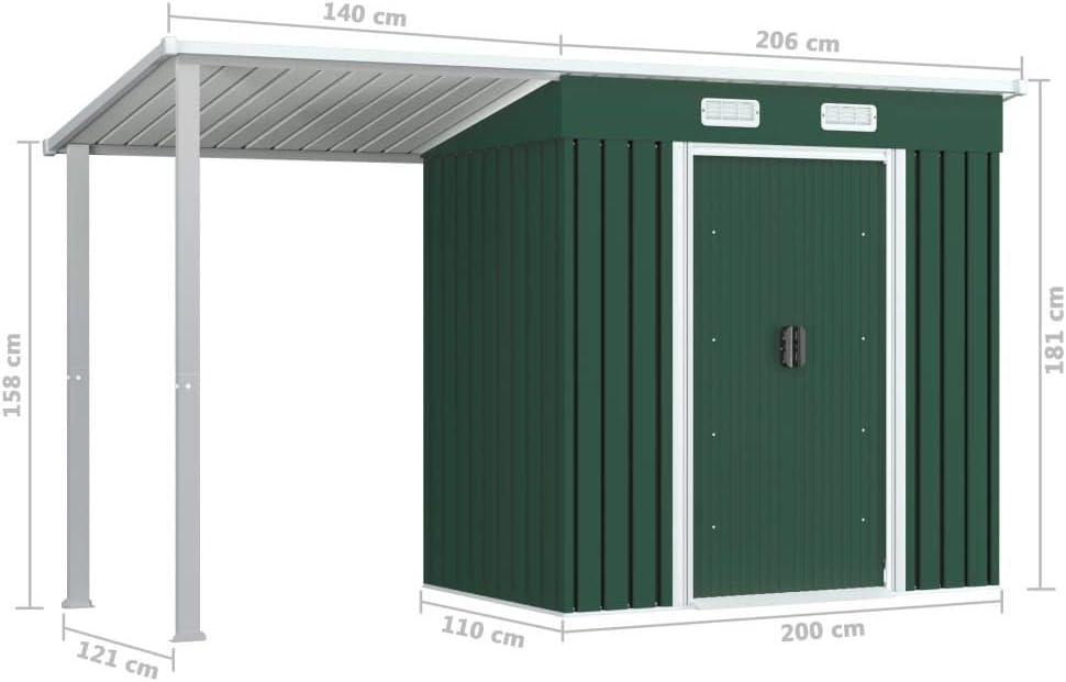 vidaXL Gartenhaus mit Vordach Schiebet/üren L/üftungsklappen Gartenschuppen Ger/äteschuppen Ger/ätehaus Garten Schuppen Gr/ün 335x121x184cm Stahl