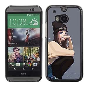 Gris Hipster Skate Punk adolescente- Metal de aluminio y de plástico duro Caja del teléfono - Negro - HTC One M8