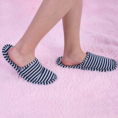 JIAHG Unisex Travel Hotel Slippers Ultra Soft Foldable Stripe House Slipper Non-Slip Washable Spa Bedroom Home Shoes Indoor Outdoor Blue by JIAHG (Image #1)