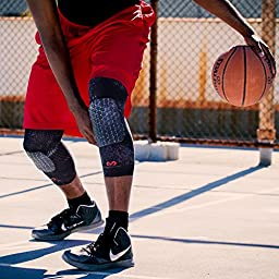Mcdavid 6446 Extended Compression Leg Sleeve with Hexpad Protective Pad (Black, Medium) - One pair