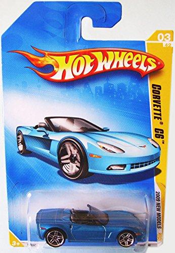 (Hot Wheels 2009 Corvette C6 Convertible Blue 03/42, 2009 New Models, 1:64 Scale.)