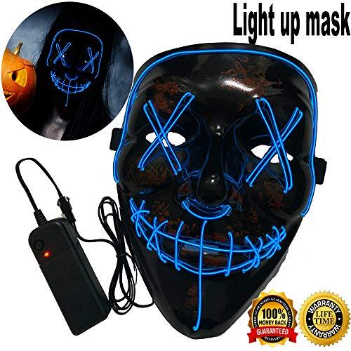 Halloween Mask Neon Mask led mask Scary Mask Light up Mask Cosplay Mask Lights up for Halloween Festival Party (Vmask Mask Blue) -