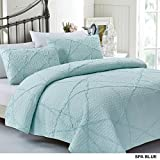 California Design Den Crazy Ruffled Quilt Set, King, Spa Blue