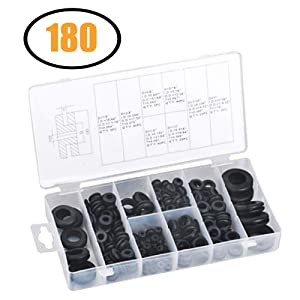 """180 Pieces Rubber Grommet Assortment Kit Electrical Conductor Eyelet Ring Gasket Assortment Gasket Ring Set for Wire, Plug and Cable, 7/8"""", 5/8"""", 5/16"""", 7/16"""", 3/8"""", ¼"""", ½"""", and 1 Inch Sizes"""