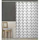 Maytex Chevron Fabric Shower Curtain, Grey, 70 X 72 Inch , Geometric