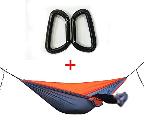 Mr. MOTH Single Nest Hammock, Soft Parachute Fabric Portable Camping Hammock with Alu Carabiners