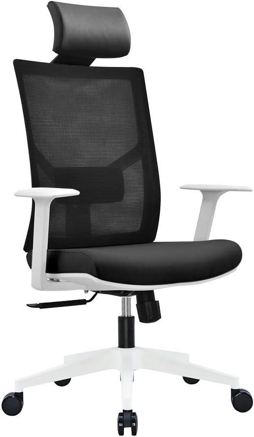 Ergonomic Multi Function Mesh Office Chair with Lumbar Support, Adjustable Armrest, (Headrest, Black-White)
