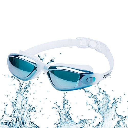 Lunettes de natation, lunettes de natation Roterdon sans fuite anti brouillard protection UV Triathlon pour adulte Homme Femme Youth enfants enfant.