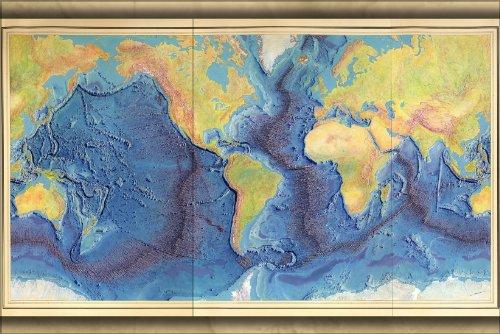 24x36 Poster; Heezen-Tharp World Ocean Floor Map By Berann 1977; Antique Reprint