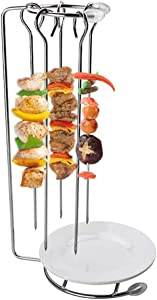 HEMOTON 1 Set BBQ Skewers Hanging Stand Rack Stainless Steel Barbecue Kabob Skewers Holder with 5pcs Flat Grilling Skewers Reusable BBQ Sticks