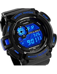 Mens Military Multifunction Digital LED Watch Electronic Waterproof Alarm Quartz Sports Watch Blue