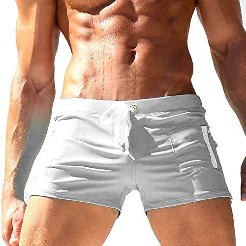 TONLEN Mens Swimwear Short Swim Trunks with Zipper Pockets White 1 XXL ()