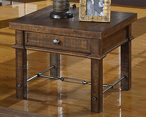Emerald Home Pine Brown End Table with Storage Drawer, Plank-Style Top, and Turnbuckle Bracing