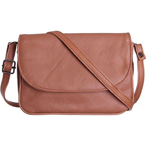 CellularOutfitter Leather Shoulder Bag/Crossbody Handbag - Zippered Pocket, Multiple Compartments - (Accented Sling Handbag)