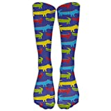 Colorful Crocodile With Big Mouth Men & Women Athletic Sock Long Stockings Fit To SIZE 6-10