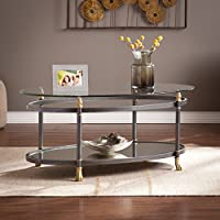 Southern Enterprises Allesandro Oval Cocktail Table, Dark Gray Finish, Silver Distressing and Gold Accents